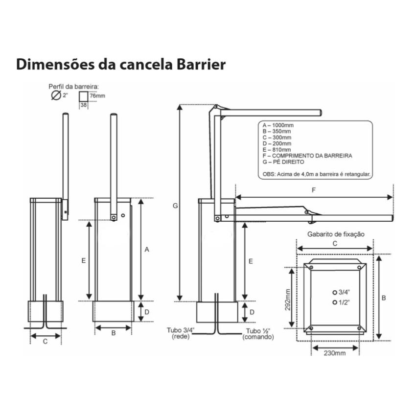 Dimensão Cancela Automática Barrier